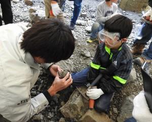 研究員に化石かどうか見てもらう怜くん。 化石だったー!!